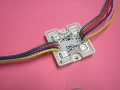LED modul 4x5050 RGB, IP65,12V/1,2W 36x36x6mm
